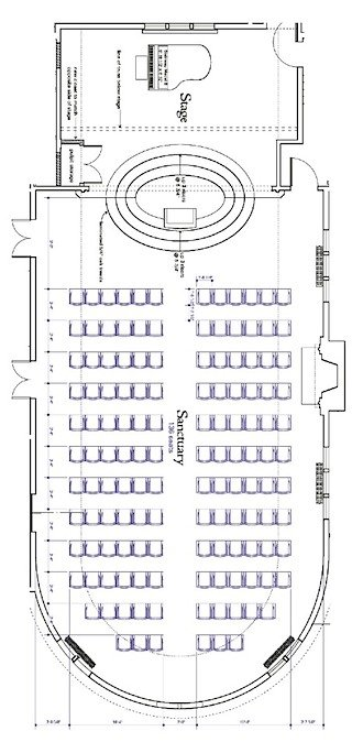 floor plan of sanctuary with piano on stage and chairs arranged in rows